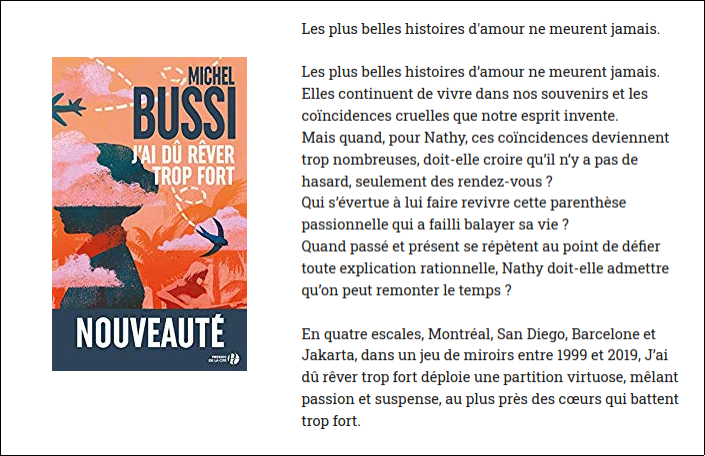 Nouveauté Michel Bussi